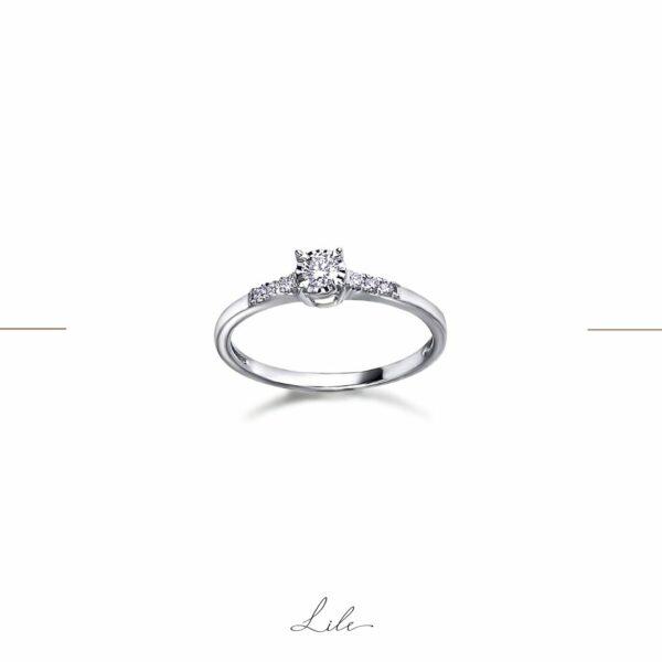 pierścionek zaręczynowy z białego złota Lile