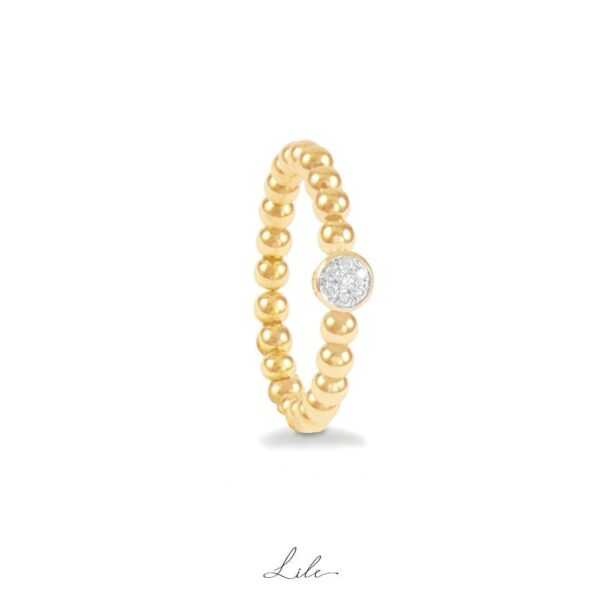 pierścionek kulki z diamentami Lile