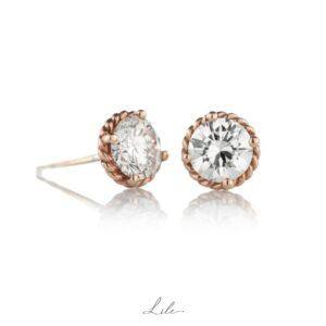 złote kolczyki z diamentami Lile Give Love N7