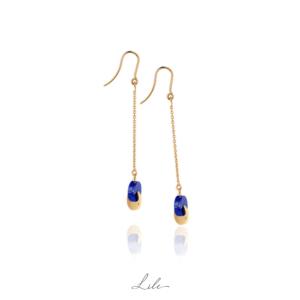 Złote kolczyki z lapis lazuli N11 Min&ral