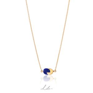 Złoty naszyjnik z lapis lazuli N12 Give Love